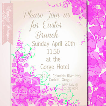 EASTER Invitation, 5x7 Floral Easter Brunch Digital DIY Print at Home Party Invitation, PRINTABLE Invitations, Pink Purple Flowers