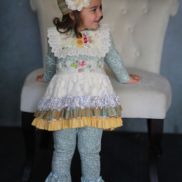 Giggle Moon Sea of Glass Tutu Dress w/ Ruffle Leggings