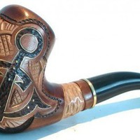 The ANCHOR - Super Hand Carved Tobacco Smoking Pipe Free Gift | Arty-store - Woodworking on ArtFire