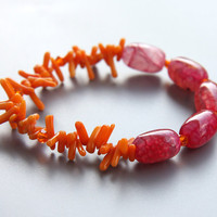 Beauty of India. Fuchsia Pink Orange Sari Bracelet. Brilliant Colors. Hot Fashion. Orange Coral and Pink Agate. Bright Statement Bracelet