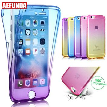 Gradient Color 360 Degree Full Body Phone Case For Apple iPhone 7 8 6 6S Plus X 10 5 5S SE Clear TPU Protective Front Back Cover
