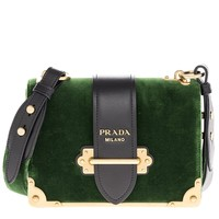 Prada Women's Cahier Velvet Bag Green