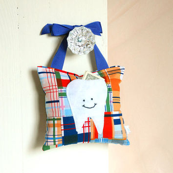 Boys Tooth Fairy Pillow in Navy Blue and by BoutiqueVintage72