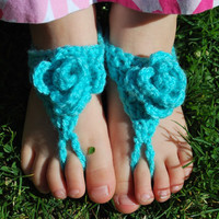 Crochet Baby Sandals with Blue Flowers, Barefoot Sandals, Baby Girl Shower Gift