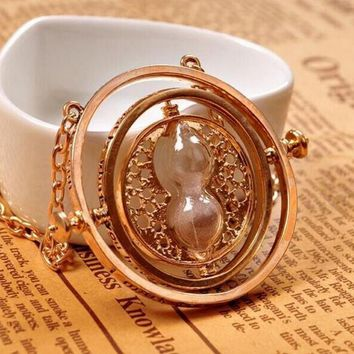 2016 Hot Sale Fashion Rotating Spins jewelry  The Movie Hourglass Necklace,Time Turner Necklace For Women