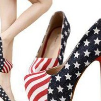 US Flag Denim High-heeled Shoes