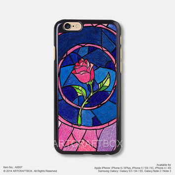 The beauty and the beast rose iPhone Case Black Hard case 097