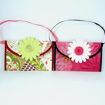 Flower gift card holder set of 2, paper purse gift card holder, all occasion, birthday gift, pink black, green red