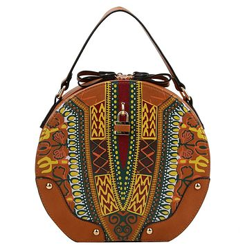 Brown Dashiki Print Vegan Leather Round Handbag