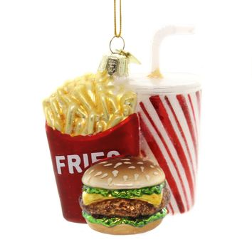 Noble Gems FAST FOOD COMBO ORNAMENT Glass Fries Burger Drink Nb1312