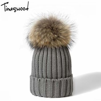 Fox ball caps winter for women wool hat knitted cotton beanies cap brand new thick female  Hedging Hats