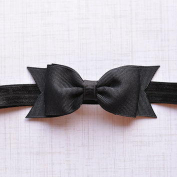 Black Bow Headband. Black Hair Bow Headband. Black Baby Headband. Baby Hair Accessories. Girls Hair Accessories. Black Hair Bows