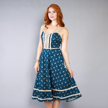 70s GUNNE SAX Sun DRESS / 1970s Blue Floral Bohemian Full Skirt Midi M