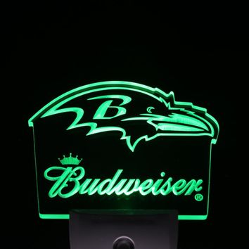 ws0156 Baltimore Ravens Budweiser Bar Day/ Night Sensor Led Night Light Sign