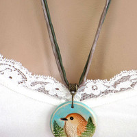 Colorful Polymer Clay Bird Pendant Handcrafted Necklace Long Ribbon