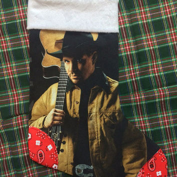 GARTH BROOKS - Upcycled Rock Band T-shirt Christmas Stocking - OOAk