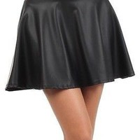Sexy High Waist Faux Leather Solid Plain Flared Pleated A-Line Skater Mini Skirt