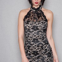 Fashion Magazine Lace Halter Bodycon Mini Dress With Victorian Collar - Taupe