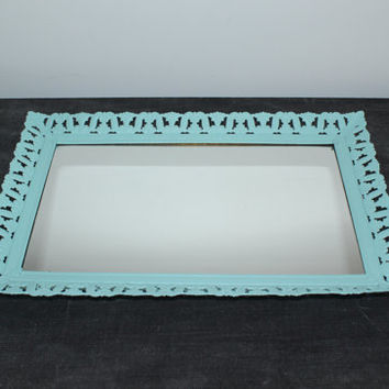 Mint green rectangular mirrored vanity tray - Painted vanity tray, upcycled vanity tray, vintage metal vanity tray, perfume tray