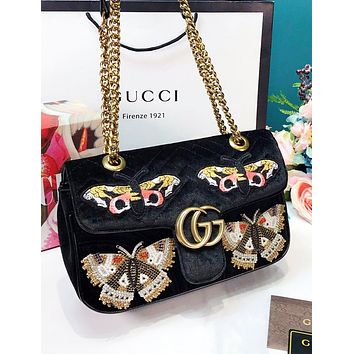 GUCCI New fashion embroidery butterfly velvet chain high quality shoulder bag women Black