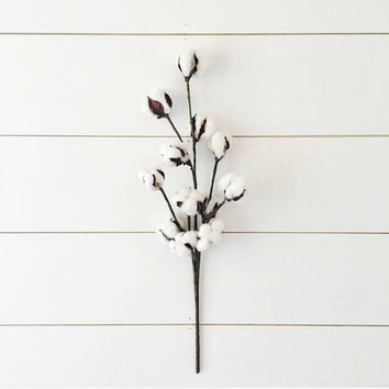 "Faux Cotton Single Stem Spray // Aproximately 20"" - Farmhouse, Fixer Upper, Home Decor, Spring Decor, Fall Decor, Cotton Wreath, Cozy, Soft"