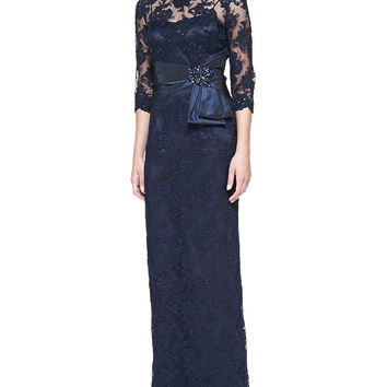 3/4-Sleeve Lace Overlay Gown,