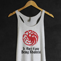 Game of Thrones Tank Top- Fire and Blood-Khaleesi- Daenerys-Heather White T shirts Tee GOT Shirt-Targaryen-- Mother of Dragons-Cup of tee