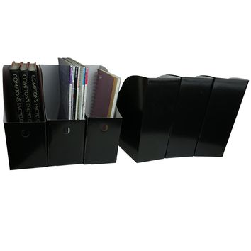 Evelots Set of 6 Magazine File Holder Organizer Boxes W/ Labels, Black or White