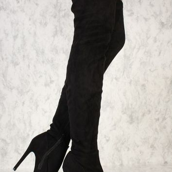 Sexy Black Pointy Toe Thigh High Boots Faux Suede