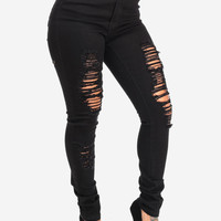 Black High Waisted Ripped Skinny Jeans