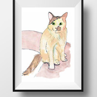 Cat lover gift ideas, custom cat portrait, personalized cat gifts, pets art and cat memorial gifts, cat portrait artist and cat artist uk