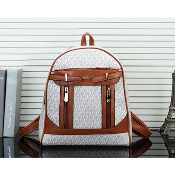 MICHAEL KORS MK Newest Popular Women Daypack School Bag Leather Backpack White