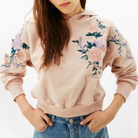 Fashion Long Sleeve Hooded Floral Flower Embroider Sweater