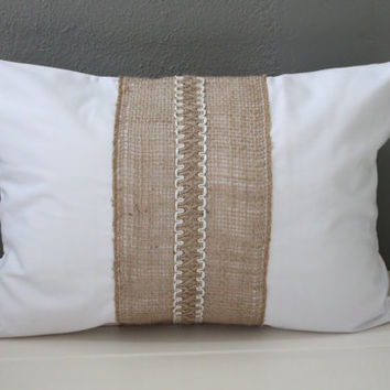 Modern Rustic Pillow: White Cotton and from Habitat Handcrafted