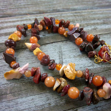 Autumn Tiger Stripes Mixed Gemstone Gold Wire Necklace