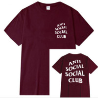 "Fashion loose leisure print""anti social social club"" T-shirt Wine red"