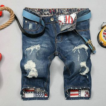 Men Holes Straight Destroyed Jeans Men's Denim Shorts Male Fashion Short Cargo Shorts Embroidery Printing Hip Hop Denim Jean