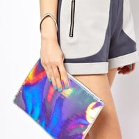 New Look Holographic Clutch Bag