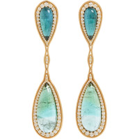 Fluid Diamond & Tourmaline Double-Drop Earrings
