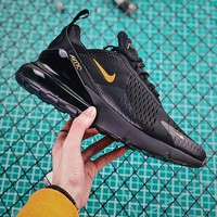 Nike Air Max 270 Black Gold Sport Running Shoes - Best Online Sale