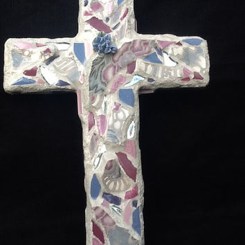 Mosaic Cross Wall Decor Lavender Pink  Handmade  OOAK Mothers Day, Easter,  Religious, Faith, Christain