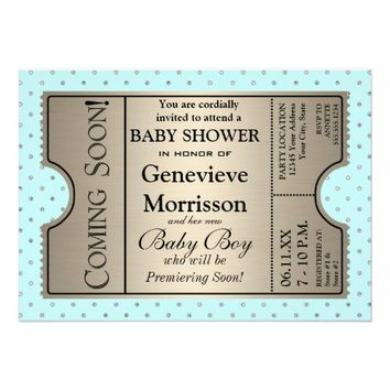 Silver Ticket Style New Baby Shower Party Invite