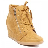 Yab Lace-up Upper Hidden Wedge Sneaker in Tan @ yabshop.com