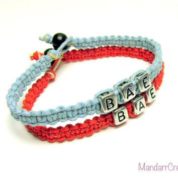 Bae Bracelets for Couples or Best Friends, Light Blue and Red Macrame Hemp Jewelry