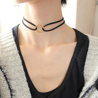 Simple Fashion Jewelry Gold Plated Hollow Round Double Black Leather Choker Necklaces & Pendants For Women Gothic Collares