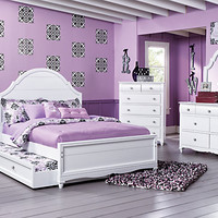 Gabriella Winter White  5 Pc Twin Panel Bedroom