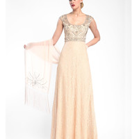 Sue Wong N5305 Champagne Beaded Lace Cap Sleeve Long Dress Fall 2015