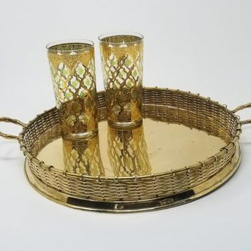 Round Brass Cocktail Tray Woven Brass Rim Brass Bamboo Handles