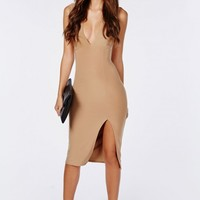 SLINKY SLEEVELESS SIDE SPLIT MIDI DRESS CAMEL