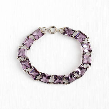 Art Deco Bracelet - Vintage Sterling Silver Simulated Amethyst - Purple Glass Faceted Stone Panel Bracelet 1930s February Birthstone Jewelry